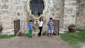 Brittany, William, and Joseph took Em to the San Jose Mission! Here they are in front of the famous rose window.